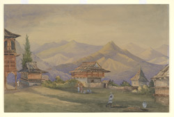 The Raja's house, Kumharsain (Punjab States); landscape with mountains and wooden houses